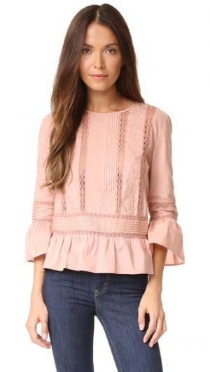 Топ с цветочной вышивкой Love Sam. Цвет: «пыльный» розовый