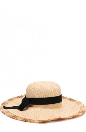 Соломенная шляпа с лентой Emporio Armani. Цвет: коричневый