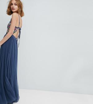 Needle & Thread Платье макси на бретелях с открытой спиной. Цвет: синий