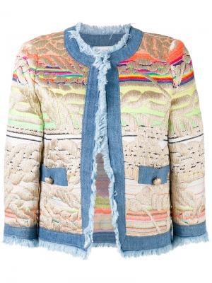 Пиджак с вышивкой и джинсовой отделкой Giada Benincasa. Цвет: многоцветный