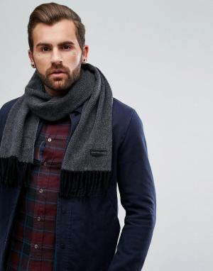 PS Paul Smith Изготовленный в Италии серый шарф из кашемира с узором елочку Pau. Цвет: серый