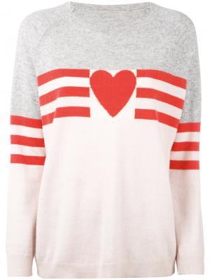 Кашемировый свитер с сердцем Chinti & Parker. Цвет: розовый и фиолетовый