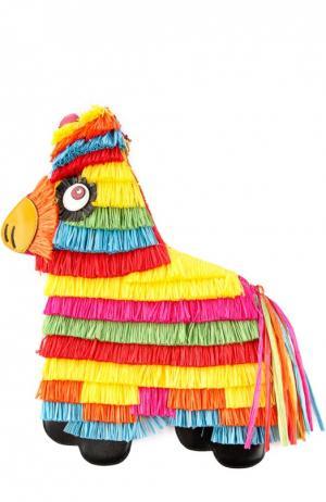 Сумка Pinata с разноцветной бахромой Charlotte Olympia. Цвет: разноцветный