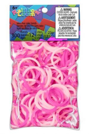 Резинки силиконовые RAINBOW LOOM. Цвет: розовый, белый