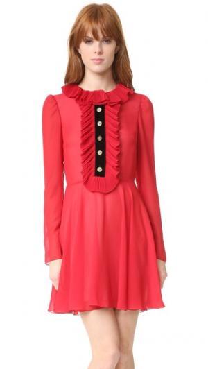 Платье с оборками Philosophy di Lorenzo Serafini. Цвет: красный