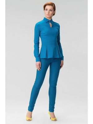 Женская блузка с вырезом спереди INDIGIRA. Цвет: бирюзовый