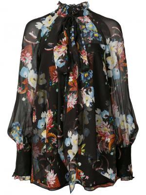Блузка с цветочным принтом Erdem. Цвет: чёрный