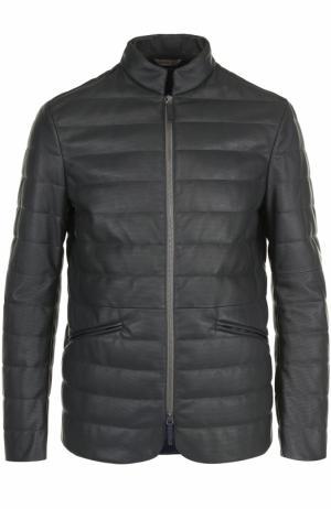 Кожаная куртка на молнии с воротником-стойкой Armani Collezioni. Цвет: темно-серый