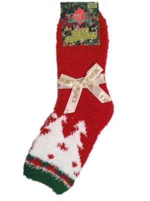 Носочки махровые новогодние HOBBY LINE. Цвет: зеленый, красный, белый