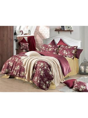 Комплект постельного белья BOURBON ранфорс, 145ТС, евро ISSIMO Home. Цвет: бордовый