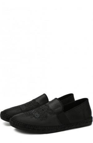 Кожаные эспадрильи с логотипом бренда Kenzo. Цвет: черный
