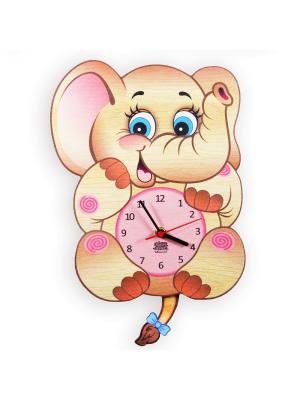 Часы с маятником Подружка Семёна Ларец Чудес. Цвет: светло-коричневый, розовый