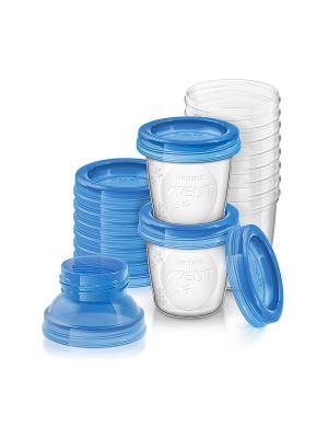 Набор контейнеров для хранения грудного молока Philips Avent SCF618/10. Цвет: прозрачный, синий