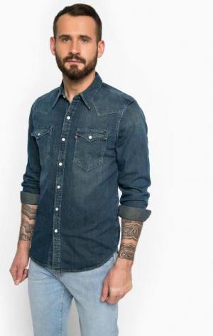 Приталенная джинсовая рубашка на кнопках Levi's®. Цвет: синий