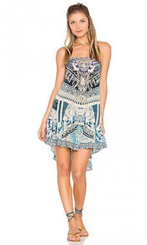 Свободное трапециевидное платье Camilla. Цвет: синий