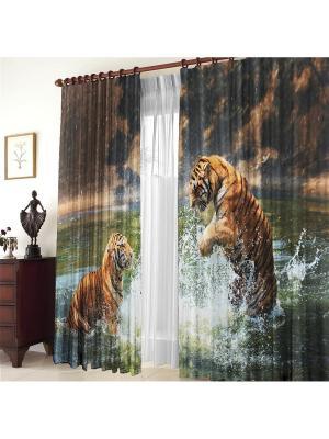Комплект фотоштор Два тигра ZLATA KORUNKA. Цвет: коричневый