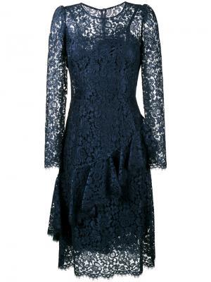 Кружевное платье с длинными рукавами Dolce & Gabbana. Цвет: синий