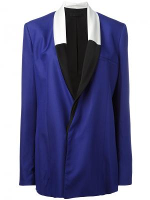 Пиджак с контрастными лацканами Haider Ackermann. Цвет: синий
