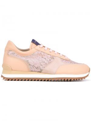 Кроссовки с кружевными панелями Le Silla. Цвет: телесный