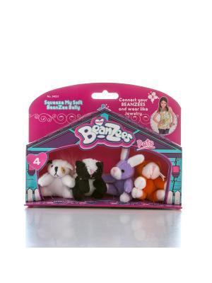 Beanzeez мини плюш в наборе Песик, Скунс, Кролик, Котик. Цвет: розовый