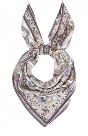 Шелковый платок с принтом Leonard. Цвет: светло-серый