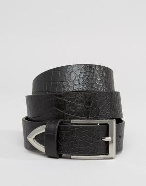 ASOS Ремень для джинсов из искусственной кожи крокодила. Цвет: черный