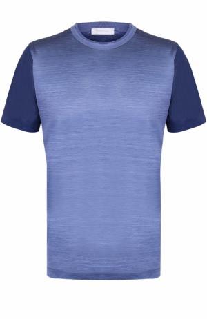 Шелковая футболка с круглым вырезом Cortigiani. Цвет: синий