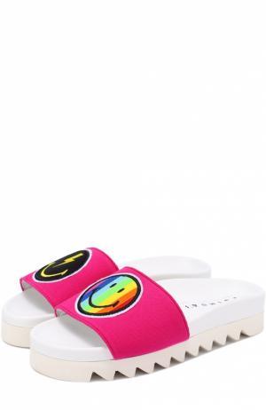 Шлепанцы Rainbow Smile с аппликациями Joshua Sanders. Цвет: розовый