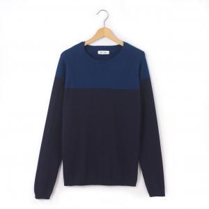 Пуловер двухцветный с круглым вырезом, 10-16 лет R édition. Цвет: синий/ темно-синий