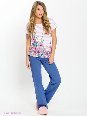 Пижама PELICAN. Цвет: белый, розовый, серо-голубой