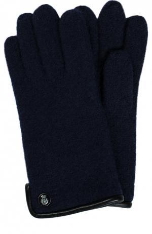 Вязаные шерстяные перчатки Roeckl. Цвет: синий