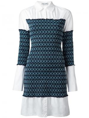 Платье-рубашка с присборенной отделкой Opening Ceremony. Цвет: синий