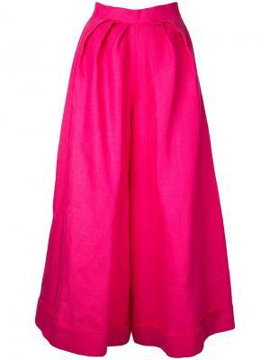 Брюки палаццо со складками Delpozo. Цвет: розовый и фиолетовый
