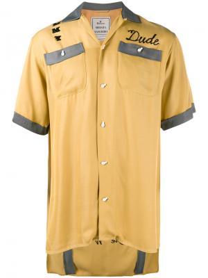 Рубашка с вышивкой Maison Mihara Yasuhiro. Цвет: жёлтый и оранжевый
