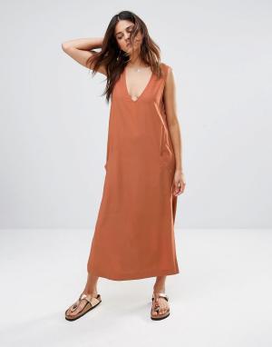 Shades of Grey Платье миди. Цвет: оранжевый