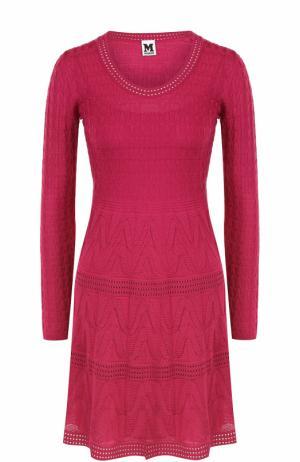Вязаное мини-платье с длинным рукавом M Missoni. Цвет: фуксия