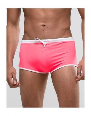 ASOS Розовые плавки-хипстеры с контрастным поясом. Цвет: розовый