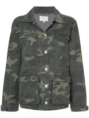 Джинсовая куртка с камуфляжным принтом Mcguire Denim. Цвет: зелёный