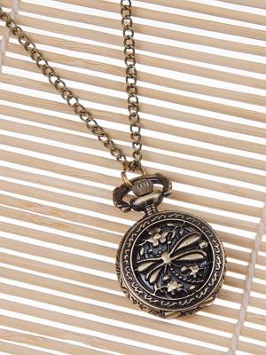 Кулон-часы Медальон с стрекозой Mitya Veselkov. Цвет: бронзовый