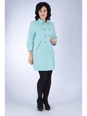 Пальто D`imma. Цвет: светло-голубой