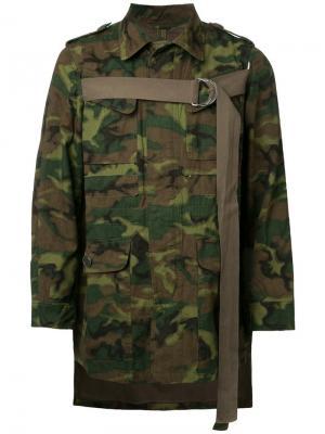 Асимметричная куртка с камуфляжным принтом Maison Mihara Yasuhiro. Цвет: зелёный