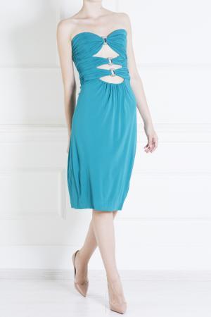 Шелковое платье Azzaro. Цвет: синий
