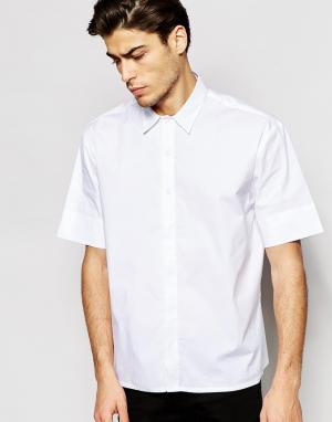 ADPT Oversize-рубашка с короткими рукавами. Цвет: белый