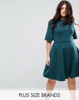 Closet Plus Короткое приталенное платье с рукавами-кимоно London. Цвет: синий