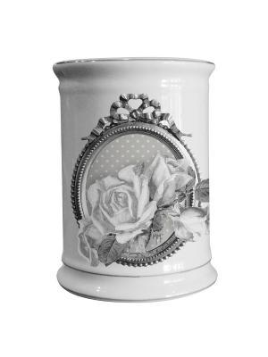 Стакан для зубных щеток керамический D 8см Розы. Mathilde M. Цвет: белый, черный