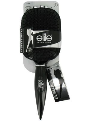 Массажная щетка для волос с пластиковыми зубьями, большая ELITE.. Цвет: белый, серебристый, черный