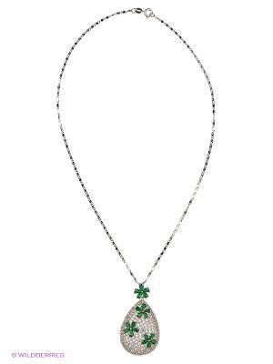 Колье by LA STRASA. Цвет: серебристый, зеленый, прозрачный