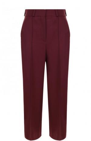 Укороченные однотонные брюки с карманами и стрелками Racil. Цвет: бордовый