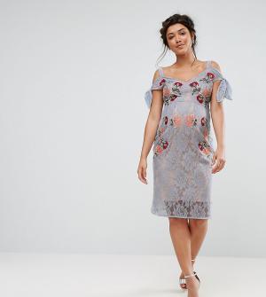 Hope and Ivy Maternity Кружевное платье для беременных с вышивкой и открытыми плечами &. Цвет: синий