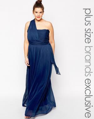 Truly You Платье макси на одно плечо. Цвет: темно-синий